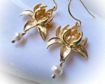 Pearl and gold lotus flower drop earrings gold dangle earrings handmade for women mum floral cottage chic shabby gold plated cream white