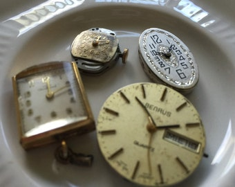4 Vintage Steampunk Supplies Watch Faces
