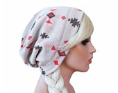Southwest Native Slouch Beanie Sewn STRETCH KNIT Beanie Hat