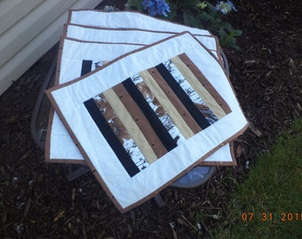 4 place mats in neutral stripes of black brown, beige  and white fabrics / handmade placemats, table linens