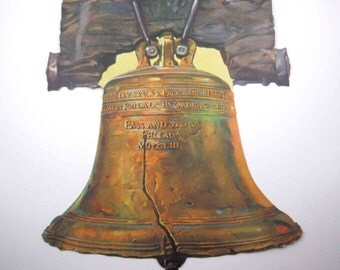 Vintage Large Liberty Bell Patriotic American Die Cut Cardboard Decoration