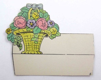 Vintage Unused Die Cut Art Deco Place Card with Woven Basket of Pretty Flowers