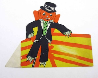 Vintage Halloween Die Cut Place Card with Grinning Jack o Lantern Scarecrow in Black Top Hat