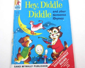 Hey Diddle Diddle and Other Nonsense Rhymes Vintage 1950s Rand McNally Children's Book Illustrated by Davi Botts