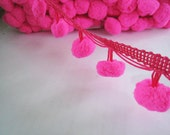 3 to 5 yards Extra Large Pom Pom Trim - Choose your own yards - Number 53 Bright Pink ( Pom pom size 2.5 cm or 1 inch )