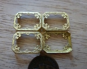 RESERVED for M 1950s Octagonal Filigree Stone, Camphor Glass or Cameo Frames, Raw Brass Jewelry Findings, 18x13.5x2mm, 2 pcs. (C36)