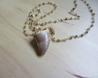 Insouciant Studios Mosasaur Fossil Tooth and Tourmaline Necklace