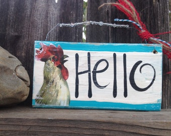 Hello Welcome Vintage Rooster RETRO REd Turquoise Wood Sign Kitchen ooak Door Barn Farmhouse Glitter Upcycle Chicken