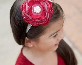 Red flower headband