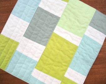 Mini Quilt - modern fabric wall hanging - Blue + Green