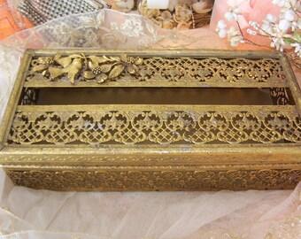 vintage matson bird and dogwood gold tone metal filigree tissue holder, hollywood glam, vanity bath boudoir, vintage charm