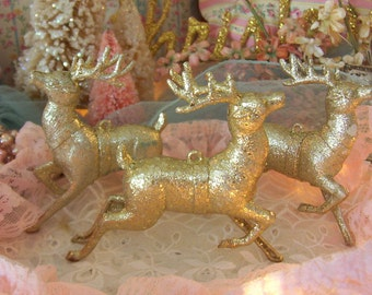 3 vintage sparkly gold christmas reindeer ornaments, running, hanging loops or standing, holiday decor decorations, molded plastic