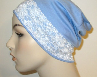 FREE SHIP USA Blue Sleep Cap with White Lace Trim, Cancer Hat, Hair Loss, Lounge Cap, Chemo Hat
