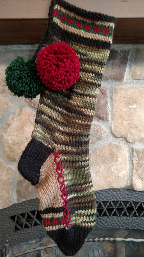 Old fashioned hand knit christmas stocking green camouflage for Fashion christmas stockings