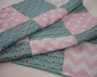Mini Manly Owls in Baby Pink and Aqua Minky Blanket and Turban Headband Gift Set 29 x 30 READY TO SHIP On Sale