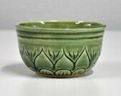 Handmade Pottery Bowl Green Ceramic Tea Bowl Celadon Carved Floral Tea Bowl by Bonnie Stowe Pottery