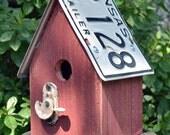 Rustic Birdhouse - Primitive Birdhouse - Recycled Birdhouse - License Plate Birdhouse