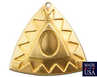 1 Hole Raw Brass Southwestern Drop / Pendant with Setting 27mm (4) mtl485A
