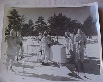 1941 PHOTO of Winter Manuvers at FORT BRADY--Nice Vintage Military Photo-Has an Official Stamp on Back by U.S. Army