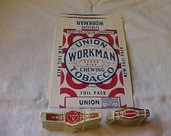 Over 400 CIGAR Bands and 2 Workman CHEWING TOBACCO Sacks~~all items are Vintage, and from Approx. the 1940's or the 1950's~~Great Items!