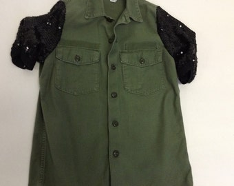 Deconstructed Distressed  Military Jacket Sequin Sleeves