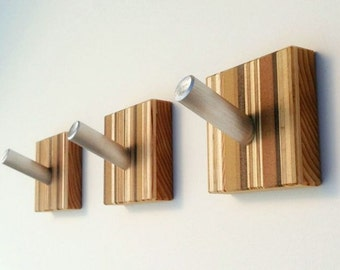 Coat Hooks, Decorative Wall Art, Modern Home Decor Wood Wall Hooks, Striped, Hooks for Coats, Metal and Wood Wall Mount Hooks