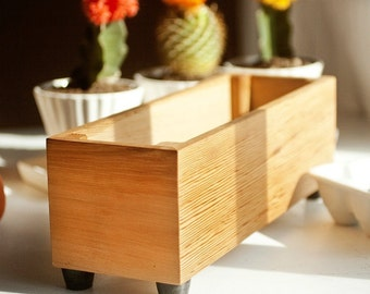 Wooden Herb Planter, Modern Indoor Planter, Wood Herb Planter For Kitchen, Indoor Gardening, Custom Sizes Available