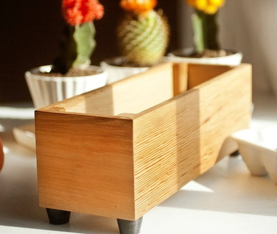 Wooden Herb Planter Modern Indoor Planter Wood Herb Planter