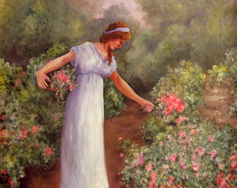 Girl gathering flowers