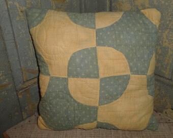 Old Quilt Pillow | Vintage Quilt Pillow | Antique Quilt Pillow | Primitive Pillow | 10 x 10 Pillow