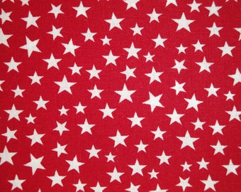Scattered Star Fabric | Red With White Star Fabric | Quilt Fabric | Home Decor Fabric | Apparel Fabric | Americana Fabric | 1 Yard
