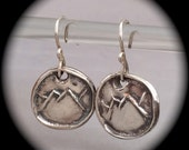 Mountains, Rustic Mountain Earrings, Recycled Silver, Eco-Friendly