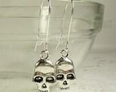 Skull Kidney Wire Dangle Earrings Tibetan Silver