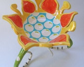 colorful whimsical pottery Serving Bowl with striped legs :) hand-painted Yellow, tangerine Orange, Lime green & Turquoise flower dish