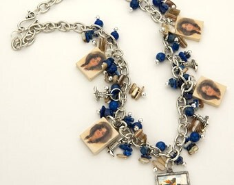Vintage Cowgirl Photo Charm Necklace Western Sodalite Blue Lapis (Free US Shipping)