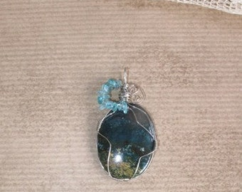 Blue Green Jasper Apatite Wire Wrapped Earth Stone Pendant Steampulp (Free US Shipping)