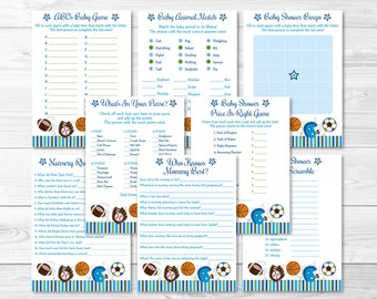 Sports Baby Shower Games Package / 8 Printable Games / Sports Baby Shower / Baby Boy Shower Games / INSTANT DOWNLOAD