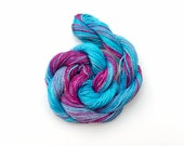 Space dyed cotton perle 8 embroidery thread - turquoise, sky blue, mauve, dark pink, light plum, hand dyed crochet yarn, tatting thread