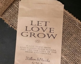 Let LOVE Grow Seed wedding favor BAG shower favor bags