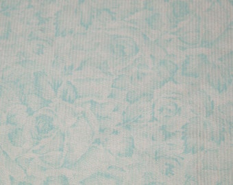 vintage 80s cotton corduroy fabric, featuring pale aqua and white floral design, 1 yard, 30 inches EXTRA WIDE