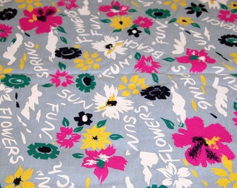 vintage 80s cotton screen print fabric, featuring great text and floral beach theme design, 1 yard, 2 available priced PER YARD