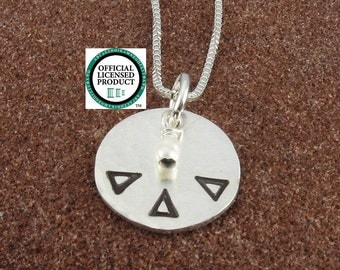 Delta Delta Delta Necklace, ΔΔΔ Hammered Sterling Silver or 14K Gold Filled Greek Letter Pendant with Freshwater Pearl, ΔΔΔ Initiation/OLP