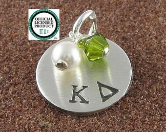 Kappa Delta Charm,ΚΔ Sorority Sterling Silver or 14K Gold Filled Greek Letter Charm,ΚΔ Bid Day/Initiation/OLP