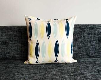 Playful, Modern Scandinavian Cushion Covers / Pillow Cases - Aqua Fish