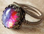 Steampunk Jewelry - Ring featuring a Breathtaking Vintage Genuine Dragon's Breath jewel