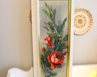 Catherine Klein Old Red Rose Print Picture in Frame