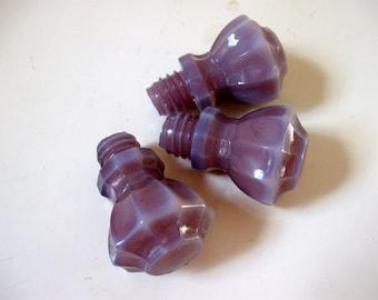 Vintage Set of 3 Lavender Threaded Glass Hoosier Knobs
