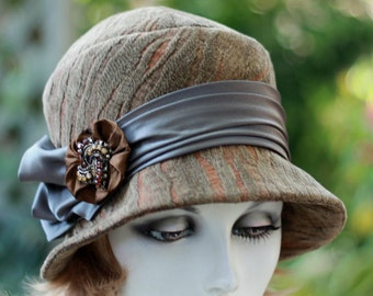 Womens 20s Cloche Hat Downton Abbey Chemo Olive Fabric