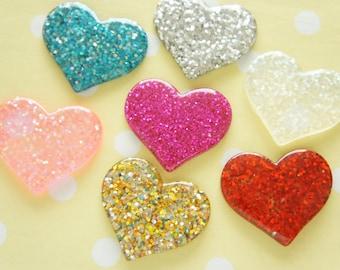 7 pcs Big Glitter Heart Cabochon (31mm36mm) IK150