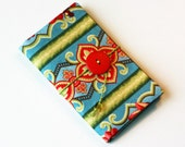 Needle Book Handmade Sewing Kit -  Tri fold Hussif with Vintage Button, red, green, blue needlebook